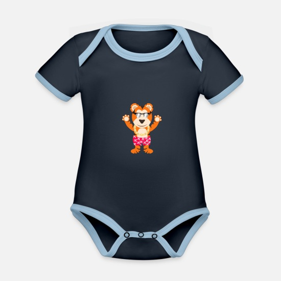 Swim Baby Clothes - Tiger vacation beach - Organic Contrast Baby Bodysuit navy/sky