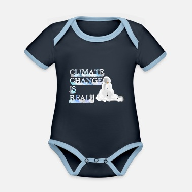 Climate change is real melting snowman - Baby Bio Kurzarmbody zweifarbig