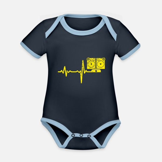 Birthday Baby Clothes - Gift heartbeat music box - Organic Contrast Baby Bodysuit navy/sky