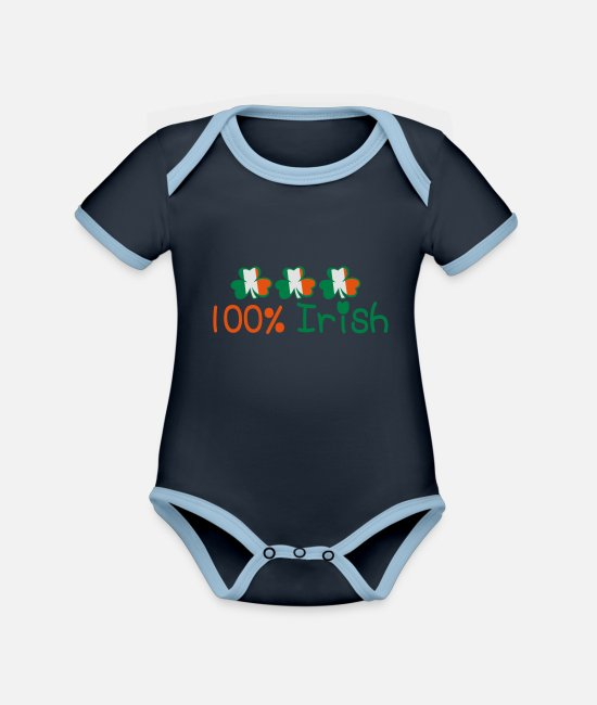 I Want To Marry Irish I Want To Have A Irish Girlfriend Irish Boyfriend Irish Husband Irish Wife Iri Baby Bodysuits - ♥ټ☘Kiss Me I'm 100% Irish-Irish Rule☘ټ♥ - Organic Contrast Baby Bodysuit navy/sky