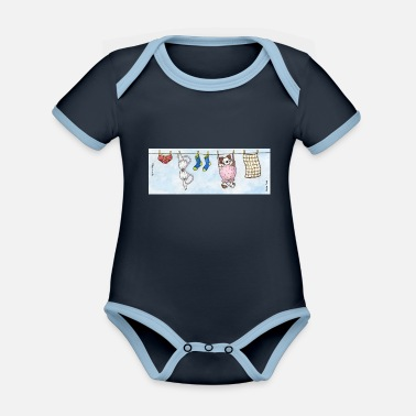 Pet Underwear Mug - Cute Fluffy Dog 'Barnaby' on a Washing Line - Organic Contrast Baby Bodysuit