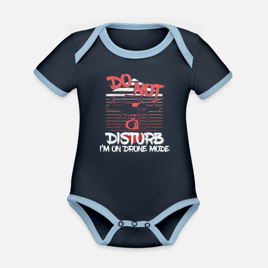 Gift Idea Baby Clothes - Drone pilot gift - Organic Contrast Baby Bodysuit navy/sky