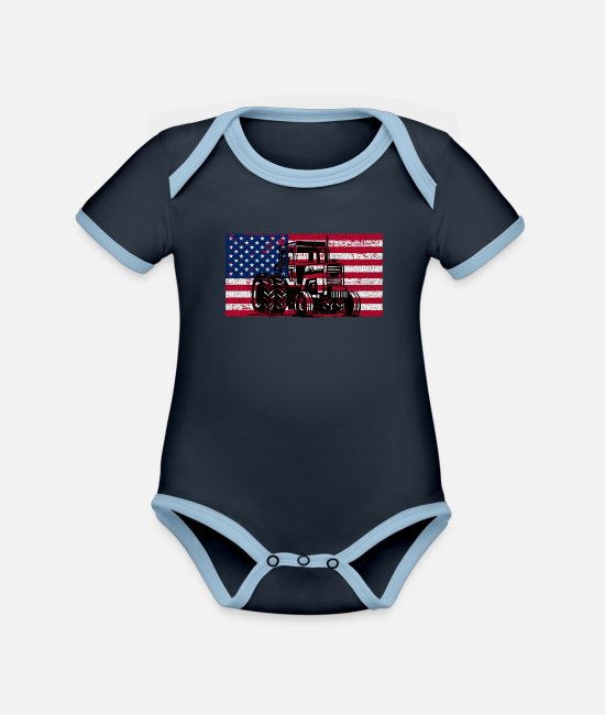 Independence Day USA Baby Bodysuits - Vintage American Flag Tractor Proud Farmer - Organic Contrast Baby Bodysuit navy/sky