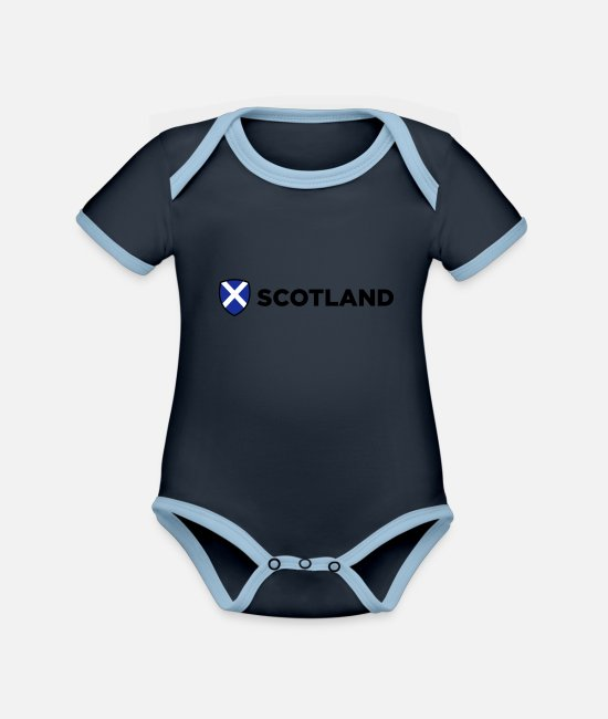 Country Baby Clothes - National Flag of Scotland - Organic Contrast Baby Bodysuit navy/sky