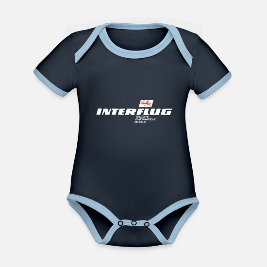 Flight Baby Clothes - interflight - Organic Contrast Baby Bodysuit navy/sky