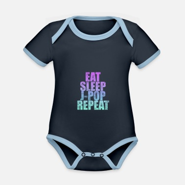 J-pop I Love J Pop | Eat Sleep J-Pop Repeat - Organic Contrast Baby Bodysuit