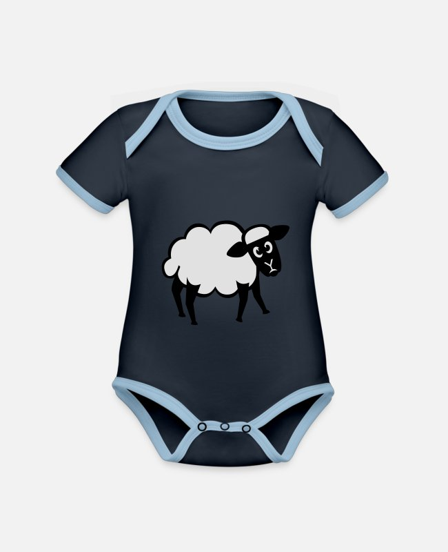 Nature Baby Bodysuits - sheep | sheep - Organic Contrast Baby Bodysuit navy/sky