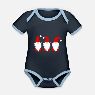 Funny Santa Clauses - Organic Contrast Baby Bodysuit