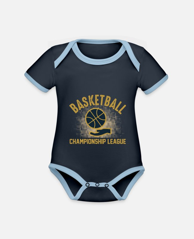 Basketball Mom Baby Bodysuits - Basketball Championship League - Organic Contrast Baby Bodysuit navy/sky