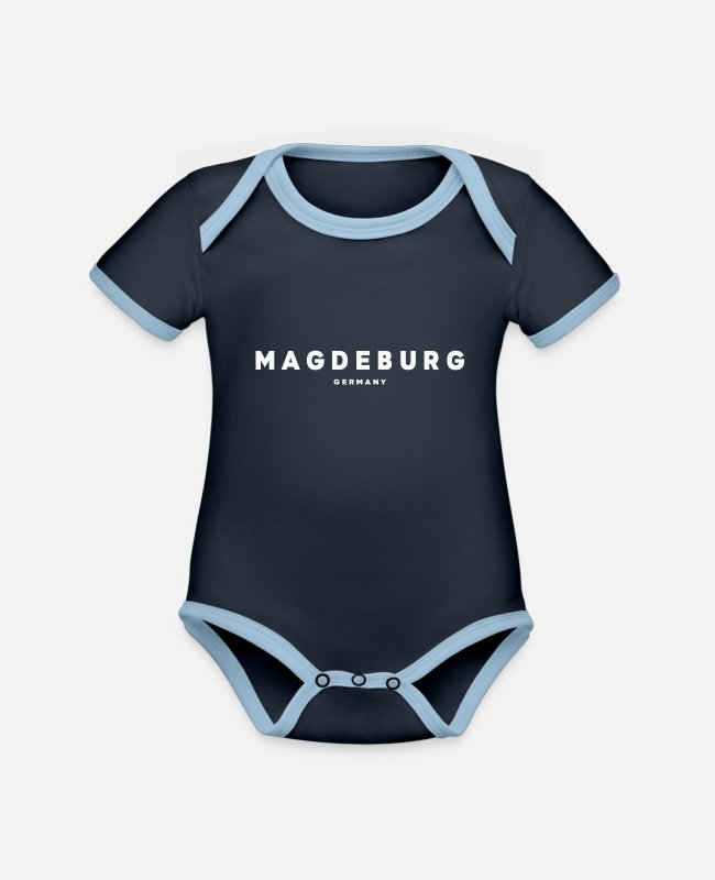 New German States Baby Bodysuits - Magdeburg - Organic Contrast Baby Bodysuit navy/sky