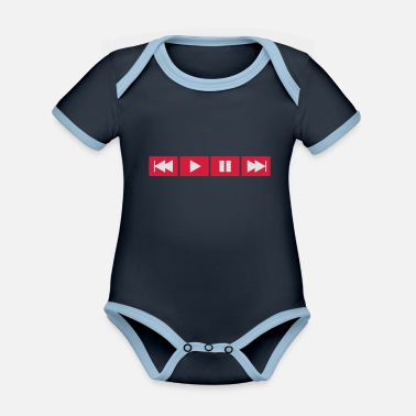 Play Button - Organic Contrast Baby Bodysuit