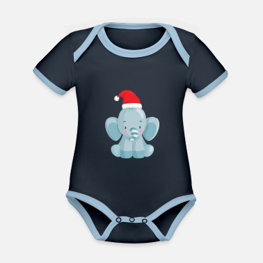 Cute baby elephant with santa hat - Organic Contrast Baby Bodysuit