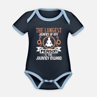 Journey The longest journey of any person is the journey .. - Organic Contrast Baby Bodysuit