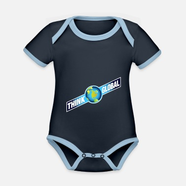 Global think global / global denken / global - Baby Bio Kurzarmbody zweifarbig