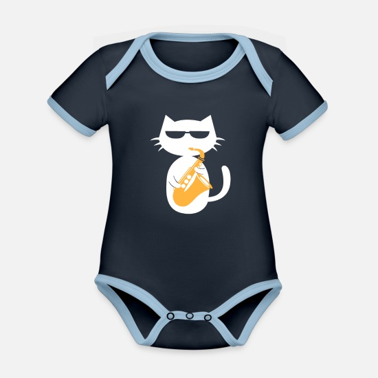 Gift Idea Baby Clothes - Saxophone Cat Saxophonist Jazz Musician Gift - Organic Contrast Baby Bodysuit navy/sky