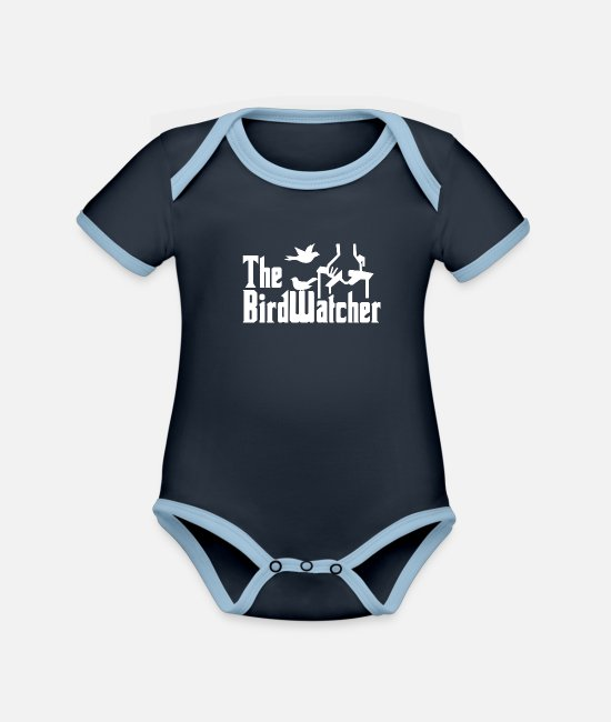 Nature Baby Bodysuits - bird watching - Organic Contrast Baby Bodysuit navy/sky