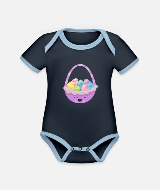 Easter Baby Bodysuits - Kids Easter Kawaii Easter Basket Easter Eggs - Organic Contrast Baby Bodysuit navy/sky