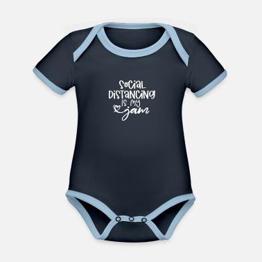 Quarantine Social Distancing is My Jam - Organic Contrast Baby Bodysuit