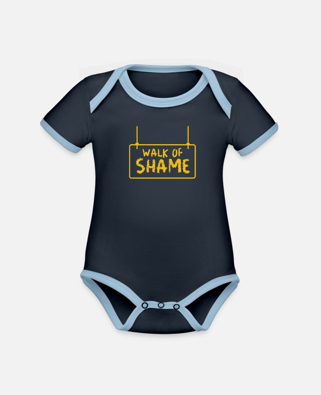 Meme Baby Bodysuits - Halloween Sexy Walk Of Shame Party Joke Gifts - Organic Contrast Baby Bodysuit navy/sky
