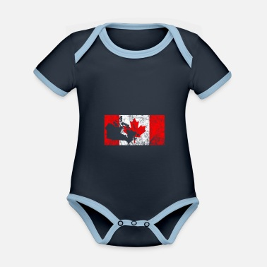 Canada Canadian flag outline maple maple leaf - Organic Contrast Baby Bodysuit