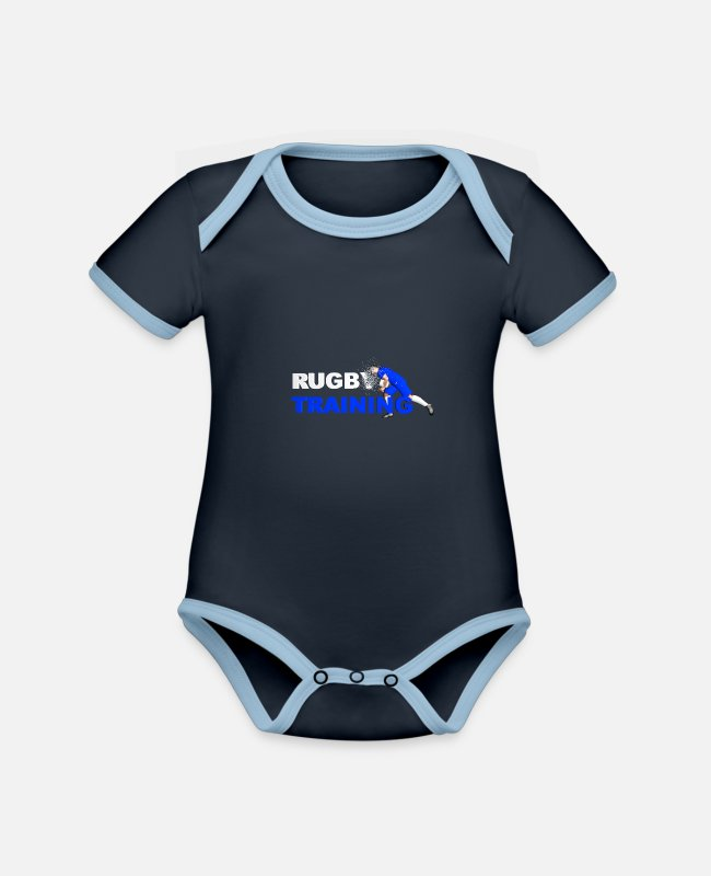 Stadium Baby Bodysuits - RUGBY TRAINING BLUE AND WHITE - Organic Contrast Baby Bodysuit navy/sky