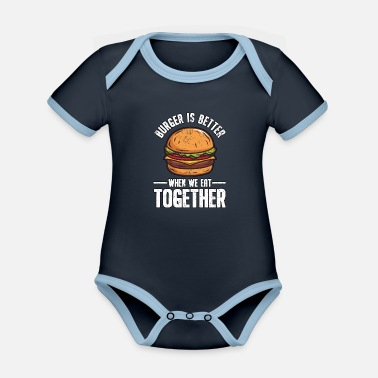 Junkie Funny fast food burger hamburger cheeseburger - Organic Contrast Baby Bodysuit