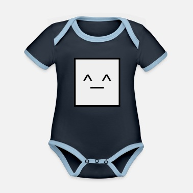 Squares Square, it's a square geometry square - Organic Contrast Baby Bodysuit