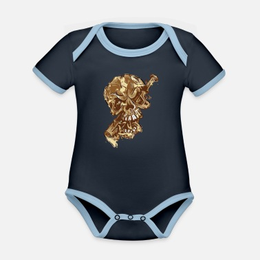 Pirate Cracked Skull by baseball bat - color skull - Organic Contrast Baby Bodysuit
