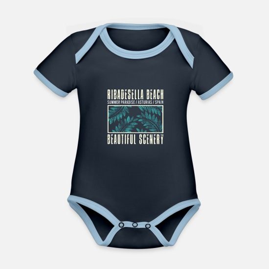 Travel Baby Clothes - Ribadesella Beach Spain Asturias beach holiday - Organic Contrast Baby Bodysuit navy/sky