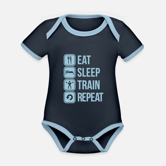 Beast Mode Baby Clothes - training - Organic Contrast Baby Bodysuit navy/sky