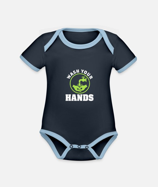 Virus Baby Bodys - Wash your Hands Corona - Baby Bio Kurzarmbody zweifarbig navy/sky