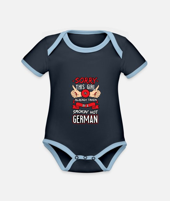 Freundin Baby Bodys - Already Taken By A Smokin' Hot German - Baby Bio Kurzarmbody zweifarbig navy/sky