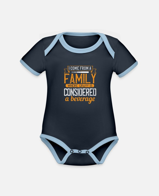 Art Baby Bodysuits - Cooking saying cook cook - Organic Contrast Baby Bodysuit navy/sky