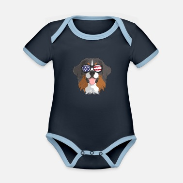 Strip Patriotisk Bernese Mountain Dog Merica American - Økologisk kontrast babybody