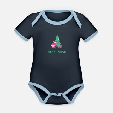 Thong Christmas Xmas Santa Claus with thong - Organic Contrast Baby Bodysuit