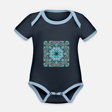 Style KALEIDOSCOPE ABSTRACT LILIES 2 FLOWERS 2 - Organic Contrast Baby Bodysuit