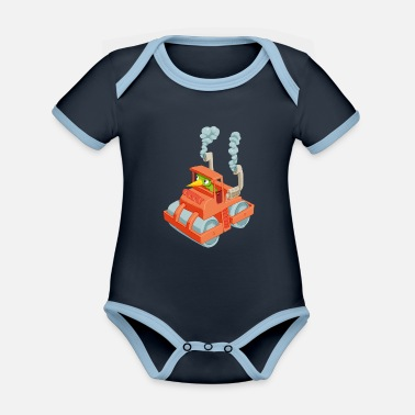 Vehicle Caterpillar in a vehicle - Organic Contrast Baby Bodysuit