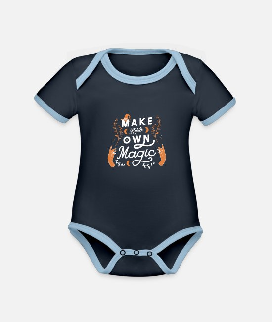 Witches Broom Baby Clothes - Make your own Magic Cool gift idea - Organic Contrast Baby Bodysuit navy/sky