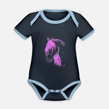Western Riding horse - Organic Contrast Baby Bodysuit