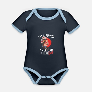 Indiaan Native I Am Proud American Indian Girl Tribe Gift - Rompertje tweekleurig