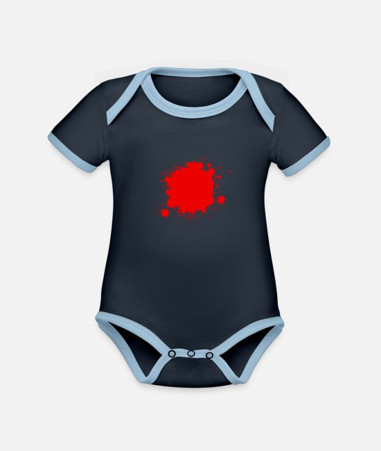 Red Baby Bodysuits - red blood stain - Organic Contrast Baby Bodysuit navy/sky