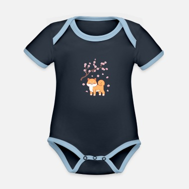 Japan Sakura dog japan anime gift - Organic Contrast Baby Bodysuit