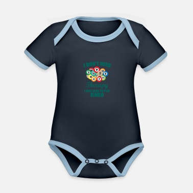 Retirement Therapy bingo gift saying pension grandpa - Organic Contrast Baby Bodysuit