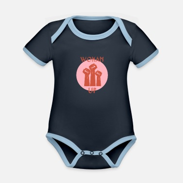 Protestant Woman up Feminist Feminism Gift - Organic Contrast Baby Bodysuit