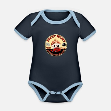 Rod hot rod flaming - Organic Contrast Baby Bodysuit