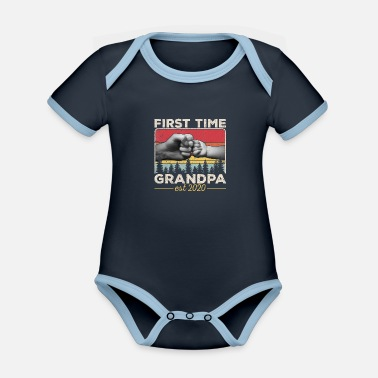 Easter First time Grandpa est 2020 Soon to be Dad Husband - Organic Contrast Baby Bodysuit