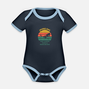 Skiing Dad for Father who Skis T Shirt - Organic Contrast Baby Bodysuit