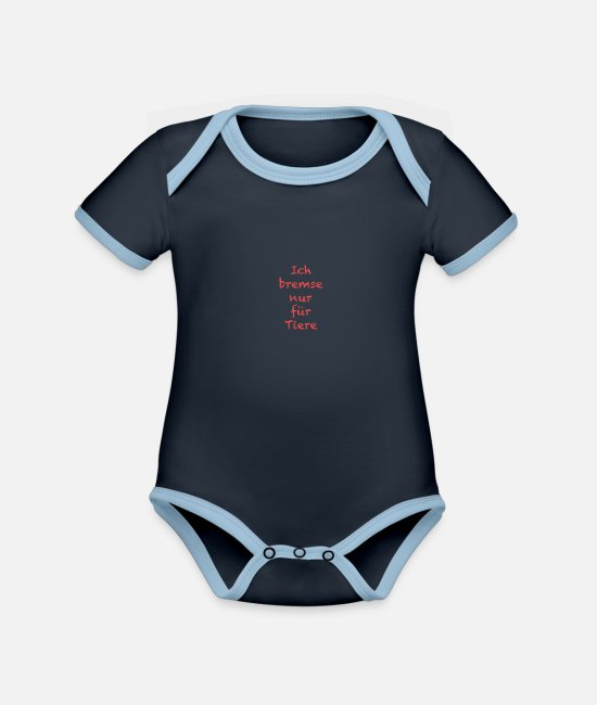 Pilot Baby Bodysuits - I brake only for animals (red) - Organic Contrast Baby Bodysuit navy/sky