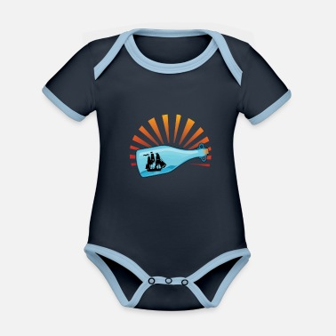 Message Message in a bottle - Organic Contrast Baby Bodysuit