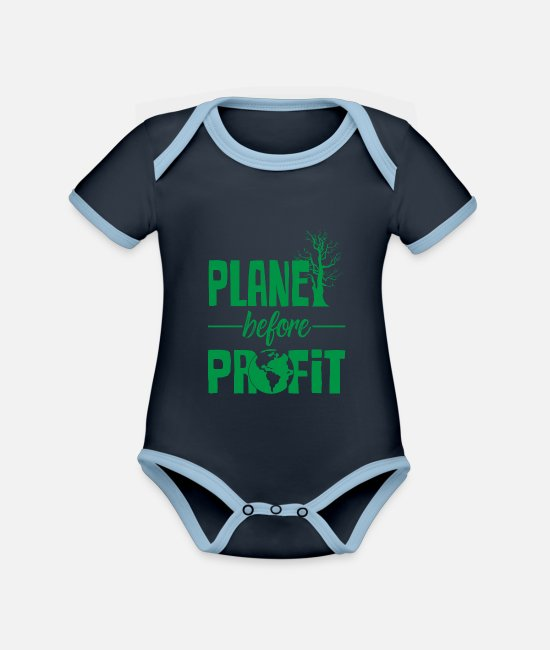Enviromental Baby Clothes - Climate protection - Organic Contrast Baby Bodysuit navy/sky